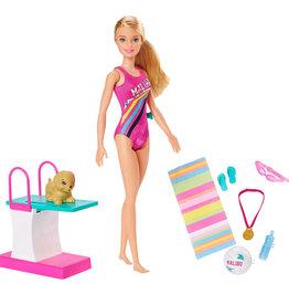 Mattel Barbie- Poupee nageuse et plongeon