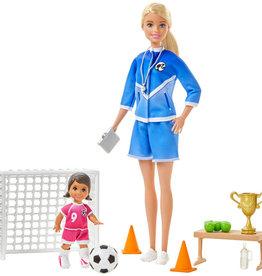 Mattel Coffret de jeu Barbie Entraîneuse de soccer avec 2 poupées et accessoires