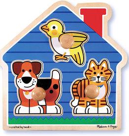 Melissa & Doug MELISSA - Animaux de la maison - Puzzle à bouton géant