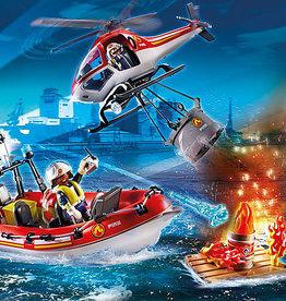 Playmobil 70335  Brigade de pompiers avec bateau et hélicoptère