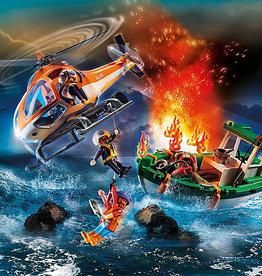 Playmobil 70491 Hélicoptère des sauveteurs et bateau