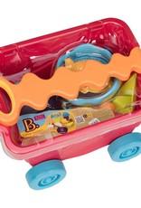 B.Summer - Chariot de plage rouge clair et accessoires