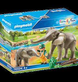 Playmobil 70324 Éléphants et soigneur