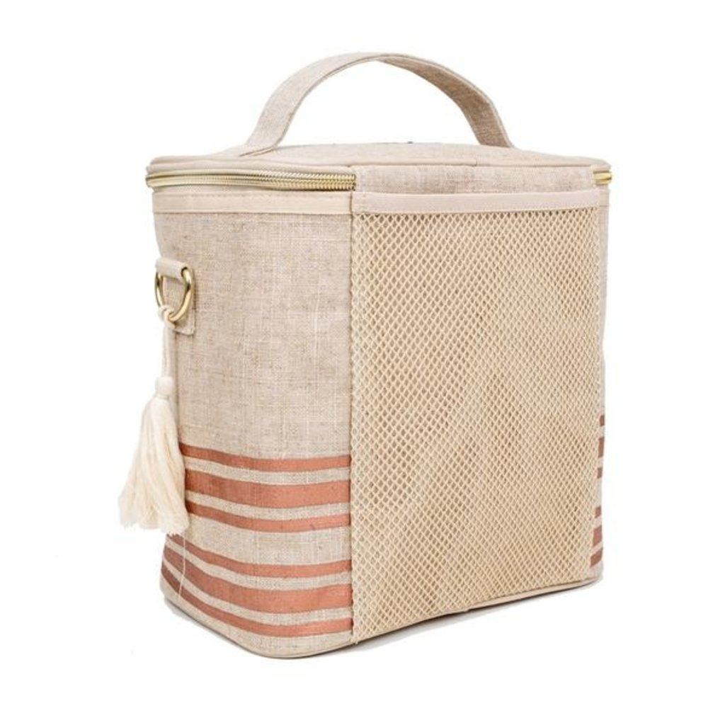 SoYoung Grand sac isotherme en lin brut- Rayure or rose