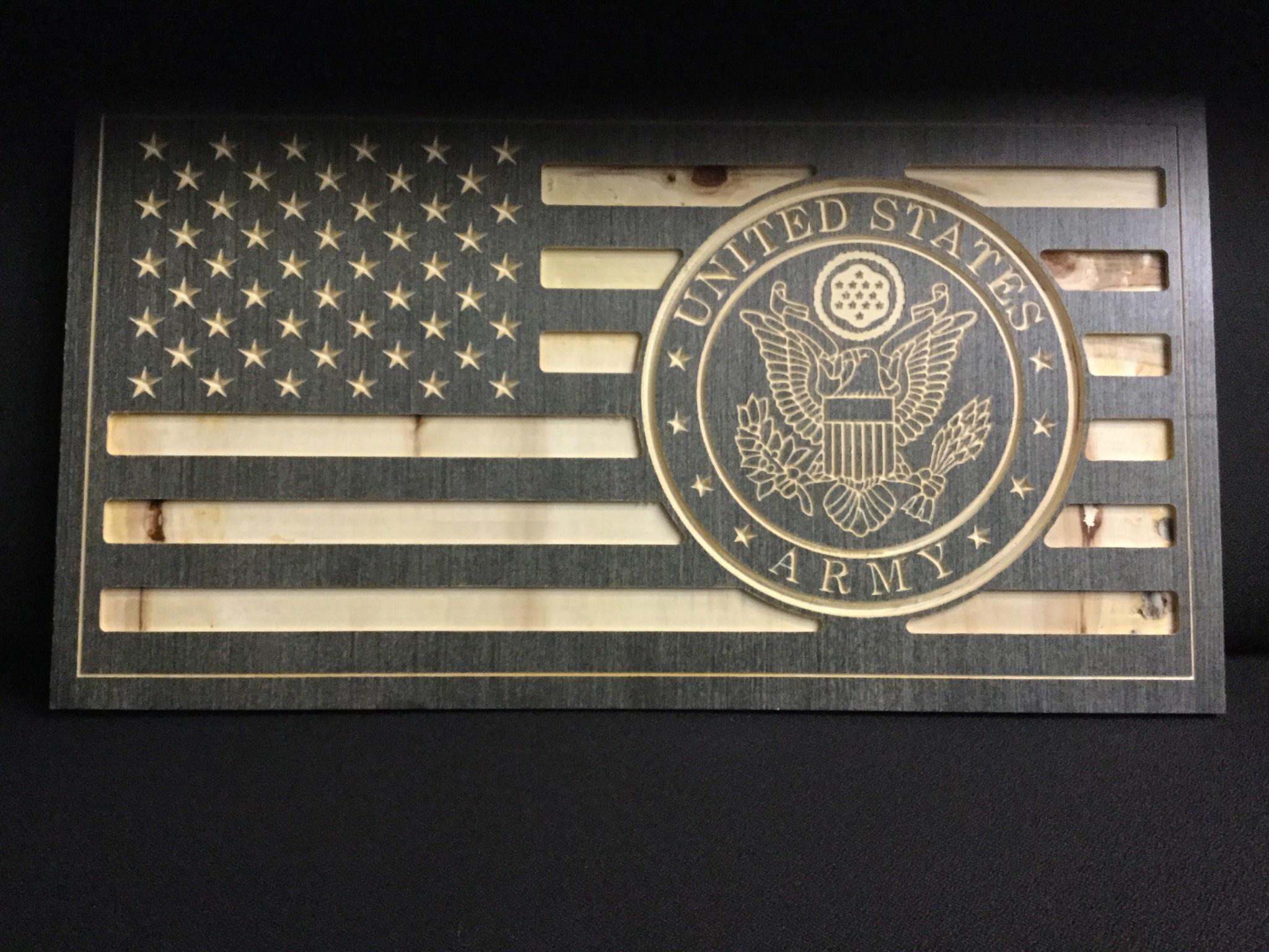 US FLAG W/ARMY SEAL