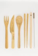 Bamboo Cutlery 7 Piece Set with Travel Pouch