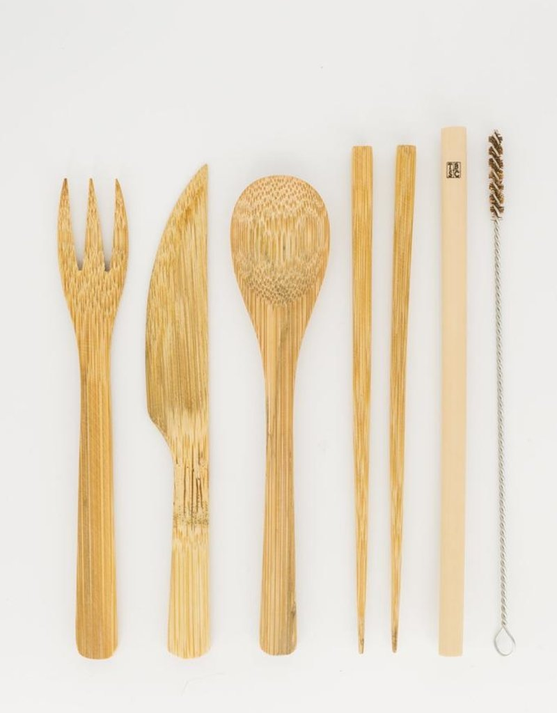 Bamboo Cutlery Set with Travel Pouch