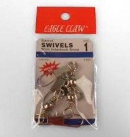 Eagle Claw Eagle Claw Sz1/0 w/Interlok Nickel 3Pk  01033-019 Barrel Swivel