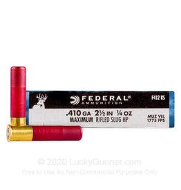 """FEDERAL FEDERAL 410 GAUGE 2 1/2"""" 1/4OZ MAX RIFLED SLUG HP"""