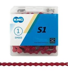 KMC CHAIN S1 SINGLE SPEED RED 112 LINK