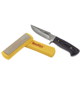 "Smith's 4"" Diamond Sharpening Stone & Fixed Blade Knife"