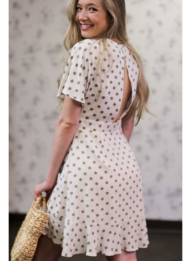 Olive Polka Dot Buckle Dress