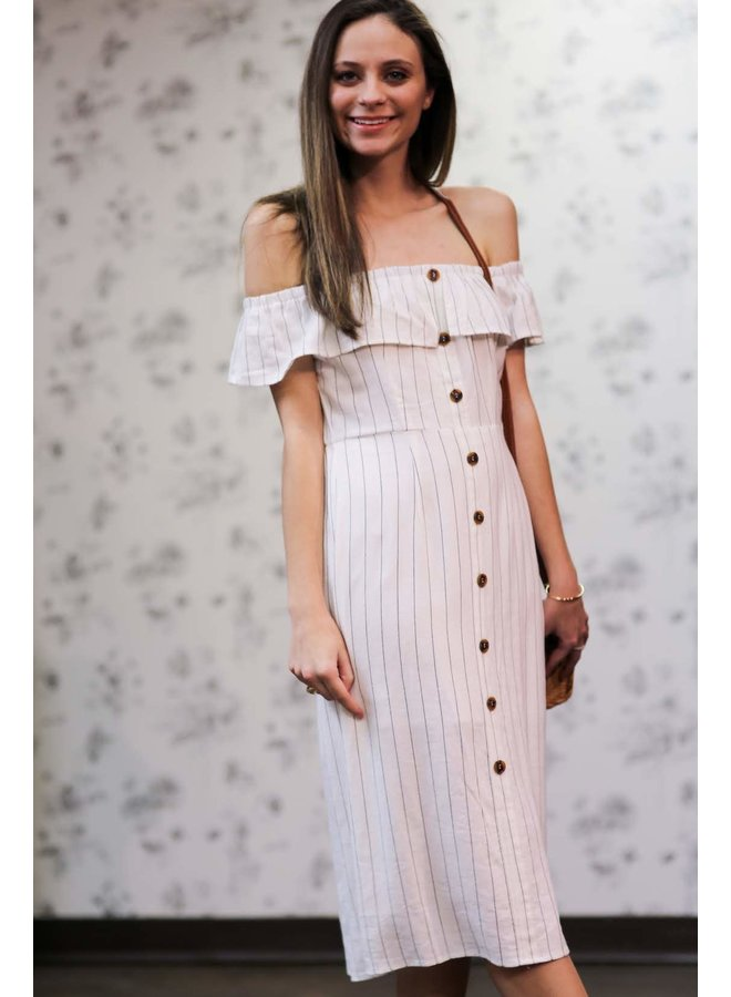 Striped Off White Midi