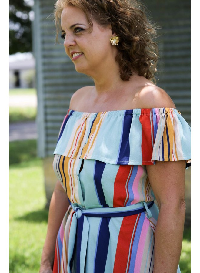 Aqua Combo Striped Dress