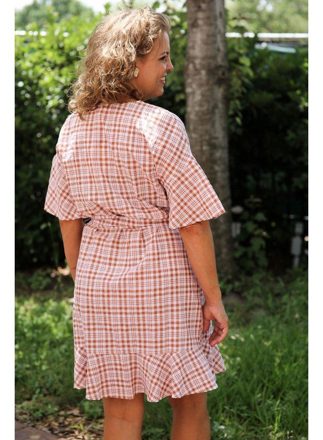 Terra Cotta Plaid Wrap Dress
