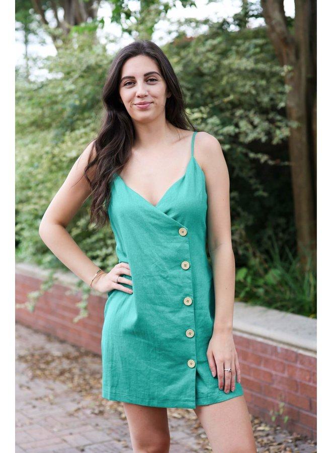 Kelly Green Button Down Linen Dress