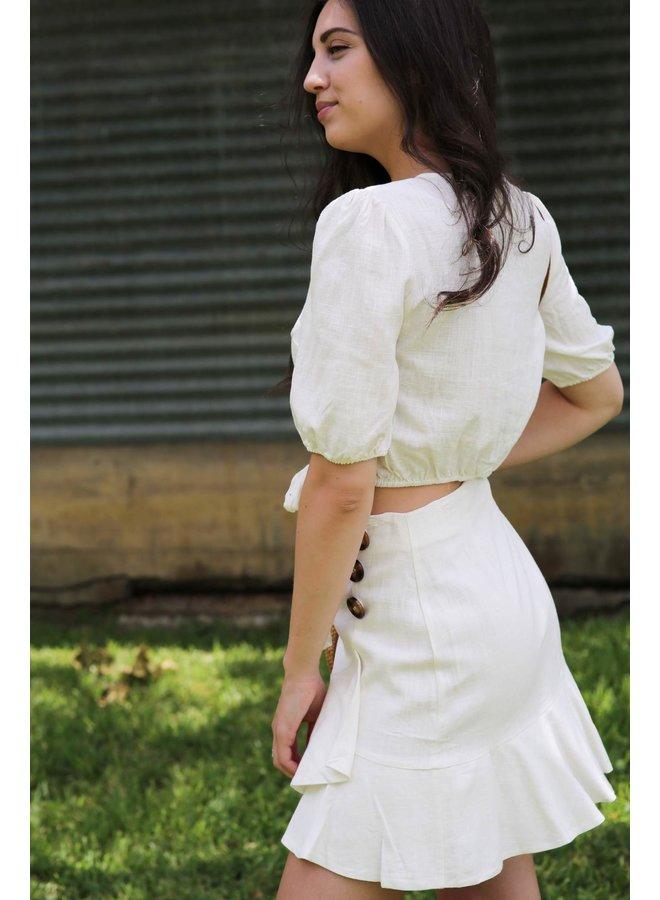 Off White Button Down Skirt
