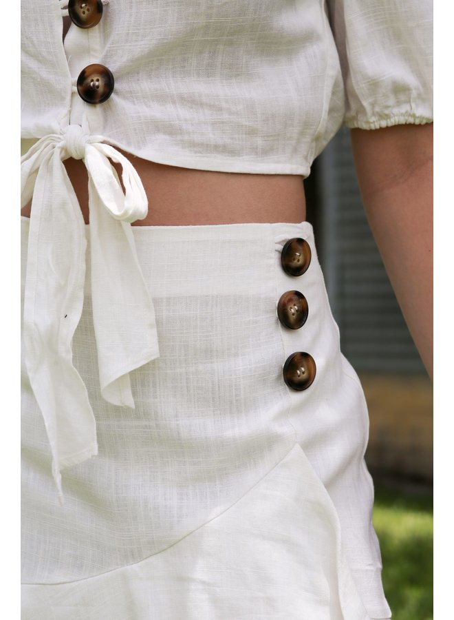 Off White Button Down Skirt