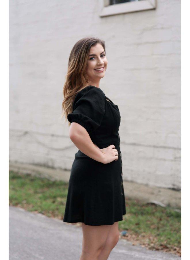 Puffed Sleeve Button Mini Dress