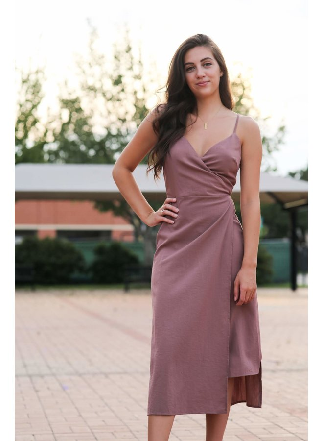 Dusty Pink Spaghetti Strap Wrap Midi Dress
