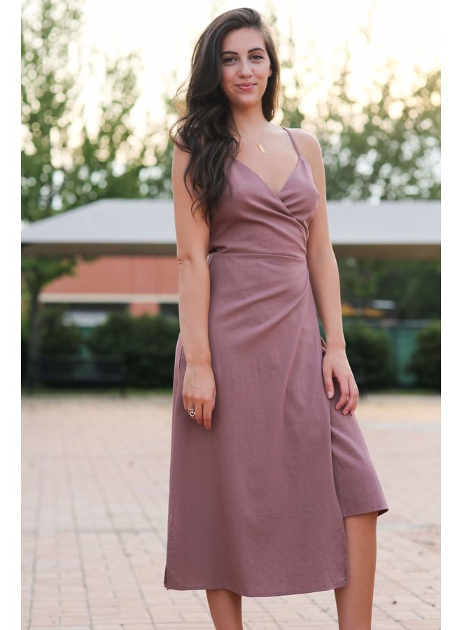Dusty Pink Spaghetti Strap Wrap Midi Dress