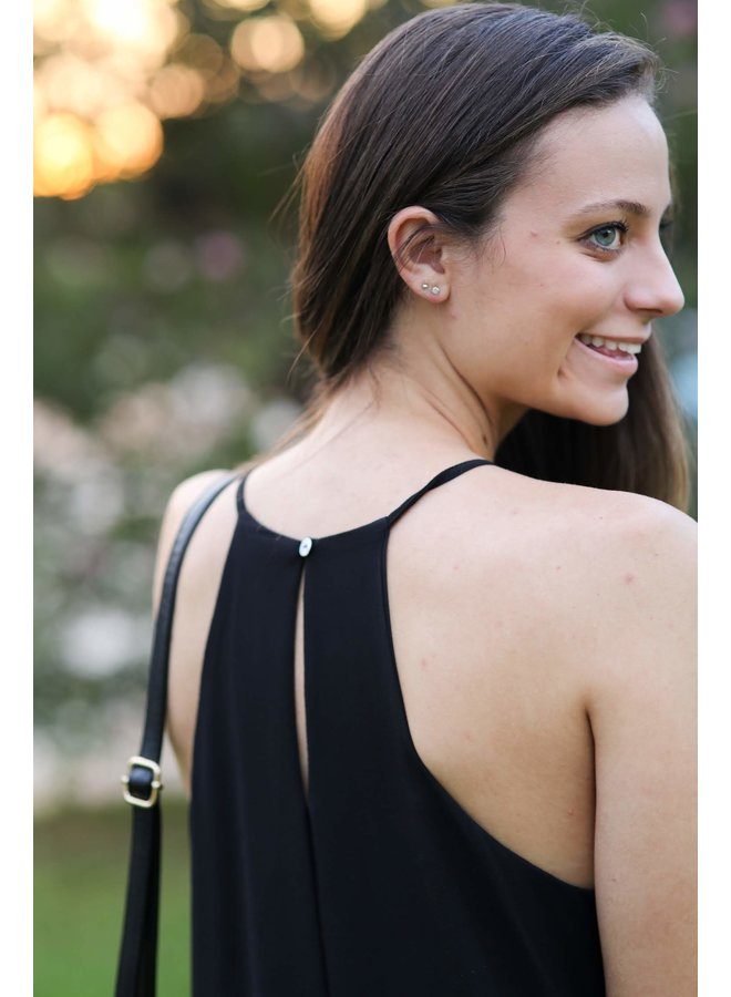 Black Pleated Cami Dress