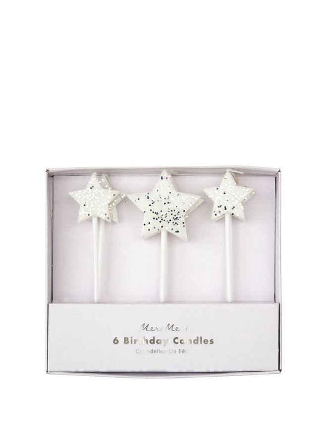 Silver Glitter Star Candles