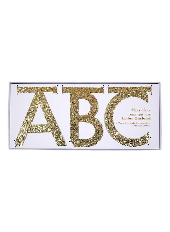Gold Glitter Letter Garland Kit