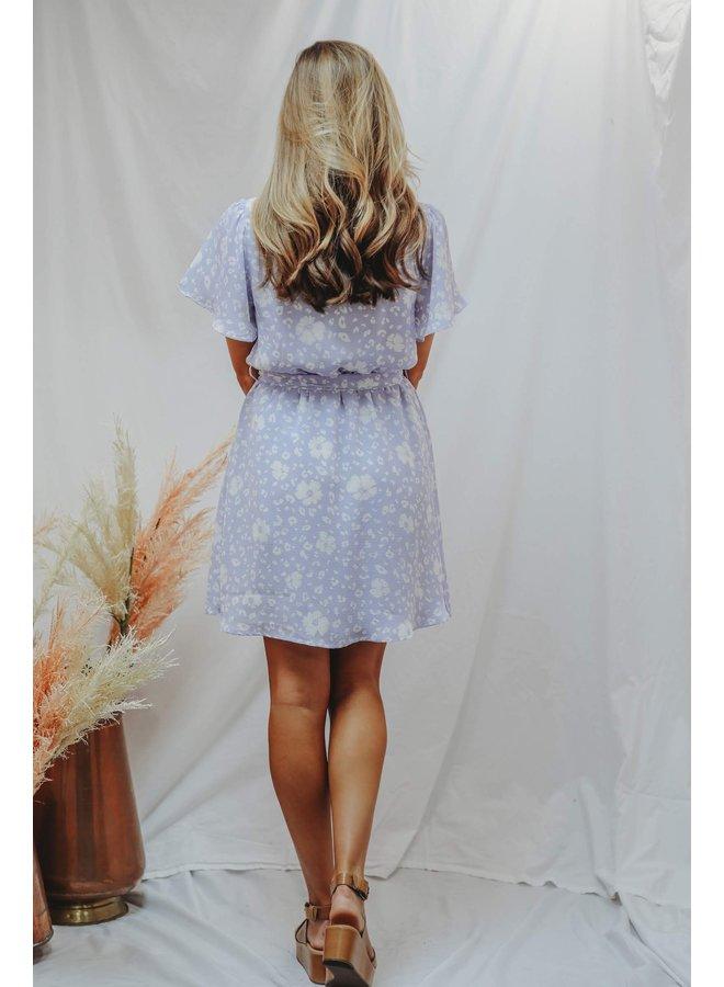Lilac Mini Dress with Neck Tie Waist