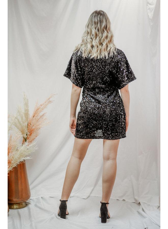 Black Sequin Twist Dress