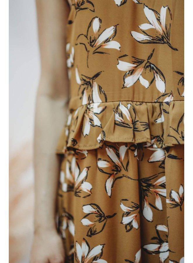 Mustard Ruffle Maxi Dress