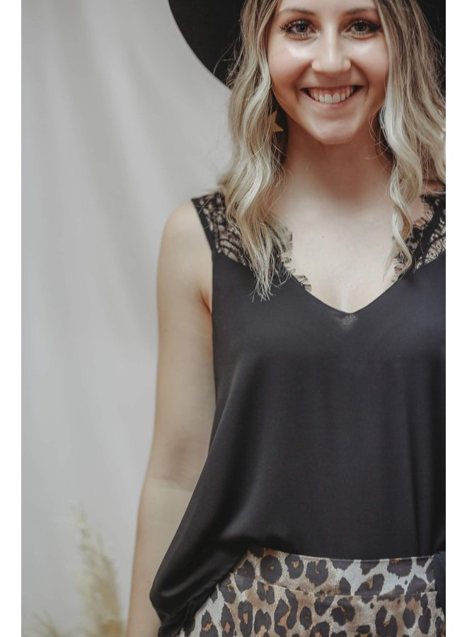 Woven Camisol Top w/ Lace Detail