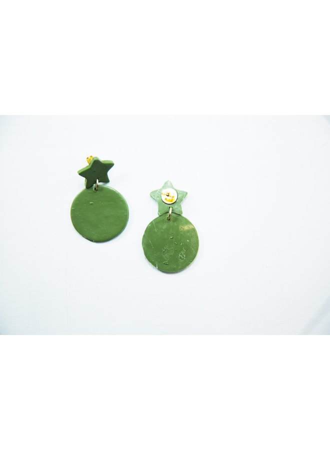 Green Star Burst Earring