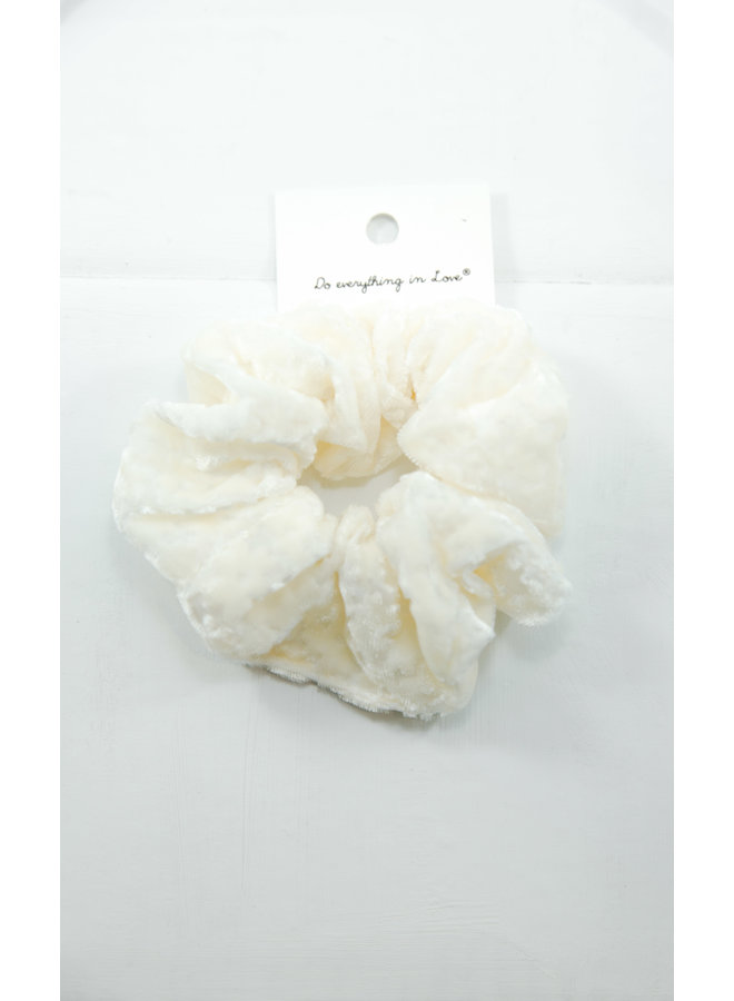 Velvet Scrunchies - White
