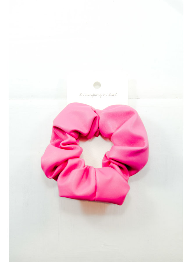 Leather Scrunchie Hot Pink
