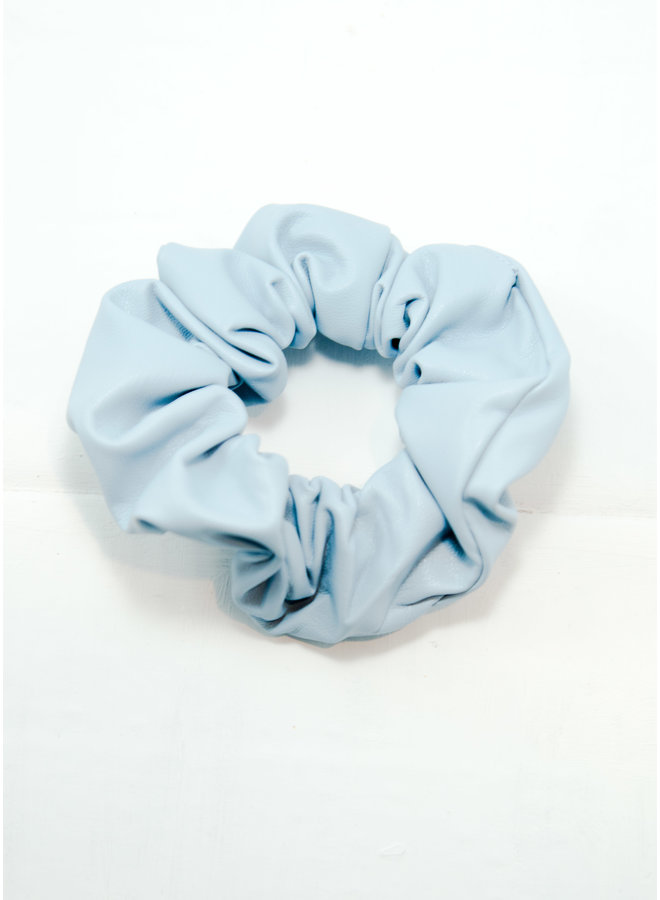 Leather Scrunchie Baby Blue
