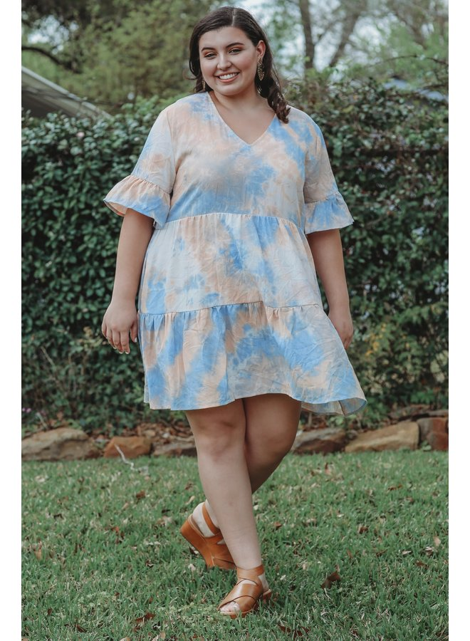 Peach Combo Tie Dye Dress