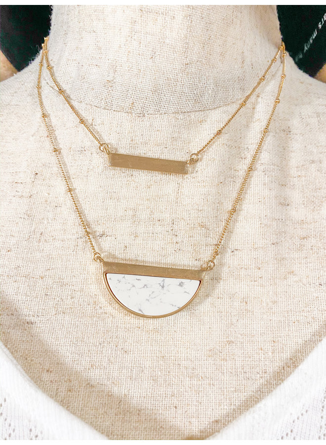 Layered Marble Bar Necklace