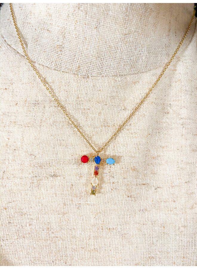 Jeweled Initial Necklace