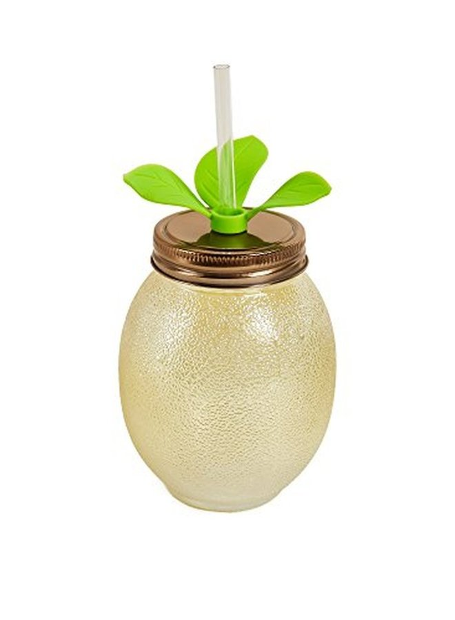 -22OZ GLASS SIPPER WITH LEAVES LEMON