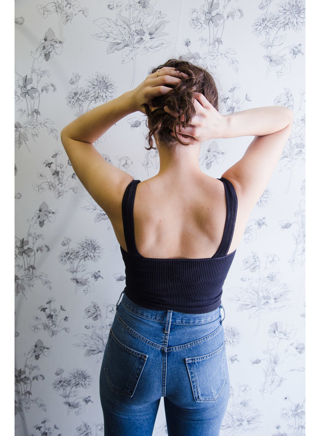 Solid Knit Ribbed Tank Top