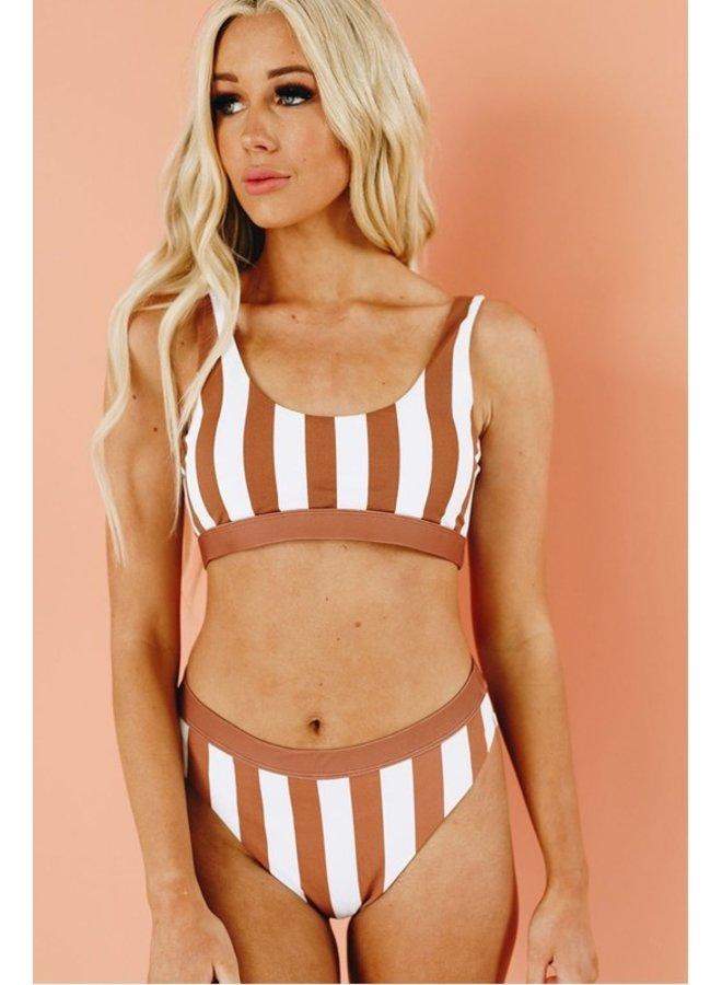 Brown Striped Bikini Top