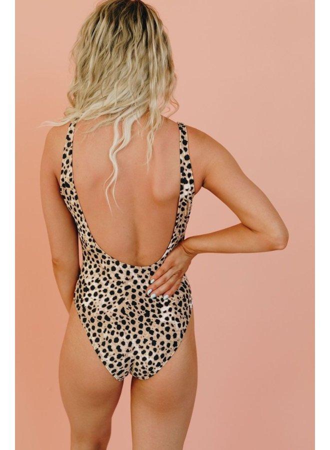 Leopard Low Back Swimsuit