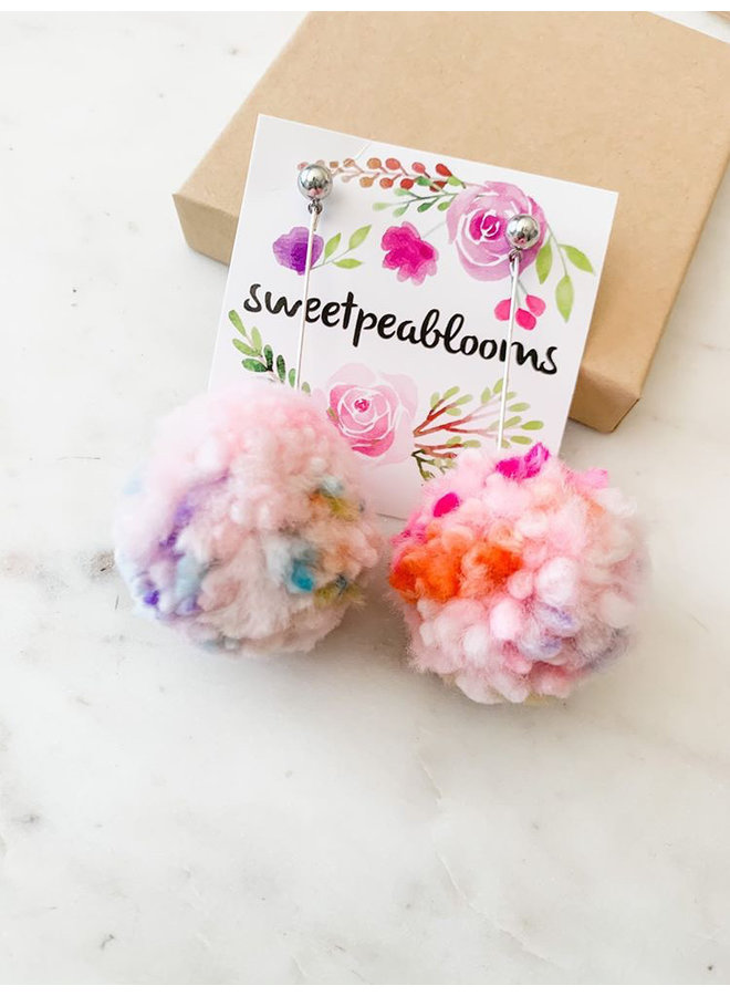 Pom Pom Earrings Confetti Blush