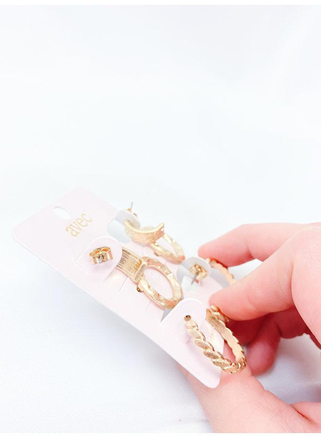 Triple Stack Golden Earrings