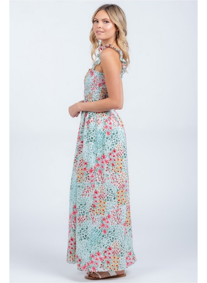 Woven Smacked Maxi Dress with Ruffle Straps