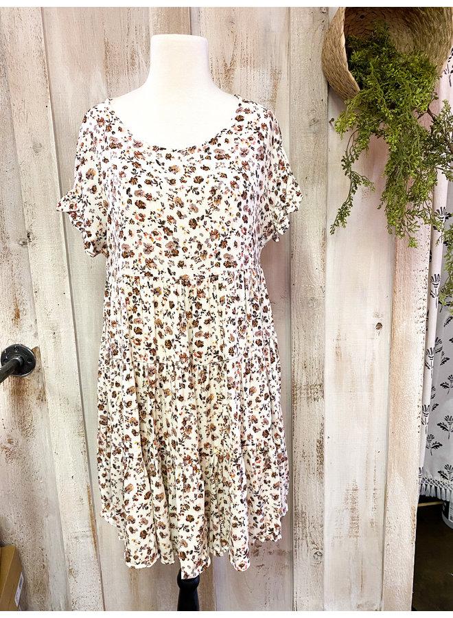 Ivory-Mauve Woven Mini Babydoll Dress