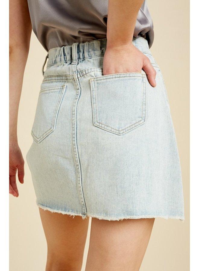 Lt Denim Mini Skirt