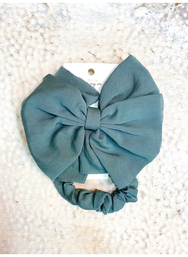 Seafoam Clip Bow with Scrunchie