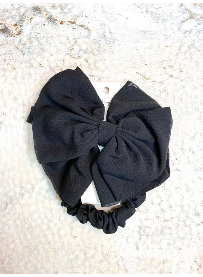 Black Clip Bow with Scrunchie